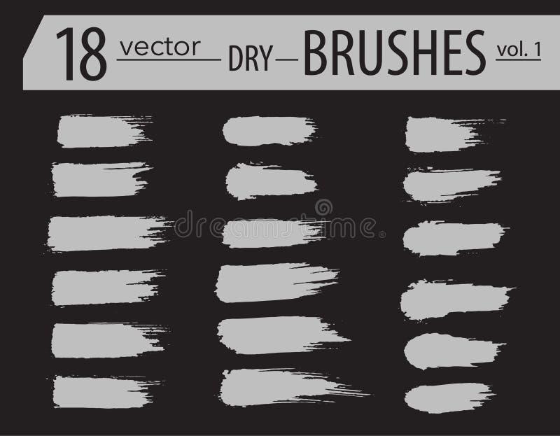 escovas Grupo de pintura do dry ink O Grunge textured cursos artísticos, projeto do vetor Escovas tiradas mão Isolado no fundo pr ilustração royalty free