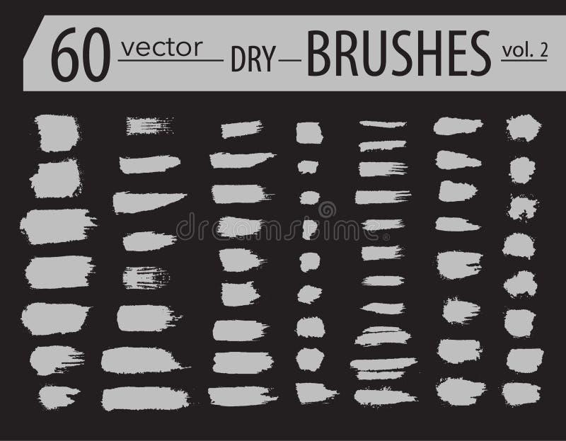 escovas Grupo de pintura do dry ink O Grunge textured cursos artísticos, projeto do vetor Escovas tiradas mão Isolado no fundo pr ilustração do vetor