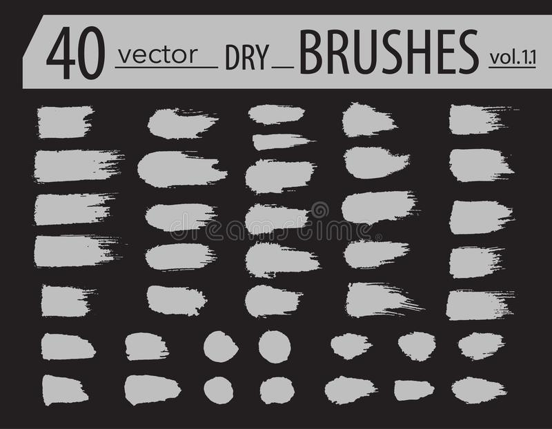 escovas Grupo de pintura do dry ink O Grunge textured cursos artísticos, projeto do vetor Escovas tiradas mão Isolado no fundo pr ilustração stock