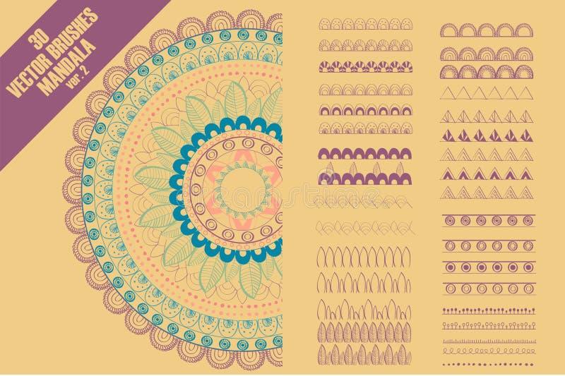Escovas sem emenda do teste padrão do vetor para criar a decoração da mandala ilustração royalty free