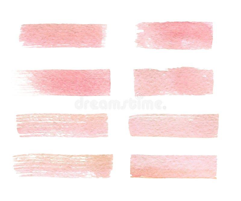 Escovas tiradas mão da textura do rosa da aquarela isoladas foto de stock royalty free