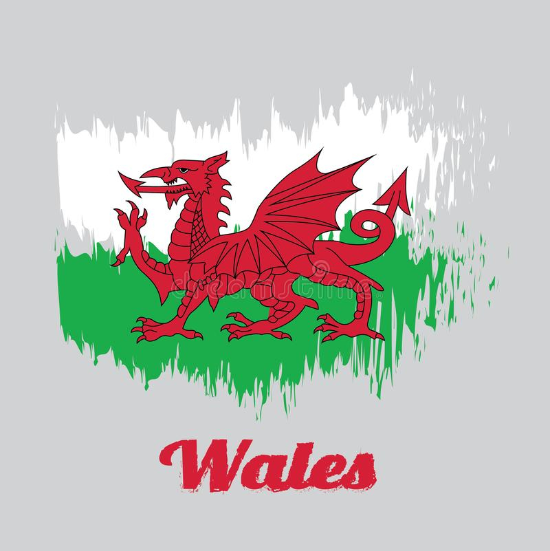 Escove a bandeira da cor do estilo de Gales, consista em um dragão vermelho passant em um campo verde e branco ilustração do vetor