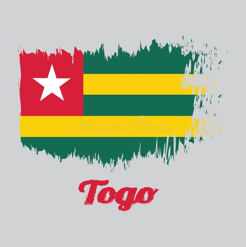 Escove a bandeira da cor do estilo de Togo, cinco faixas horizontais iguais de alternar verde com o amarelo; com um cantão vermel ilustração stock