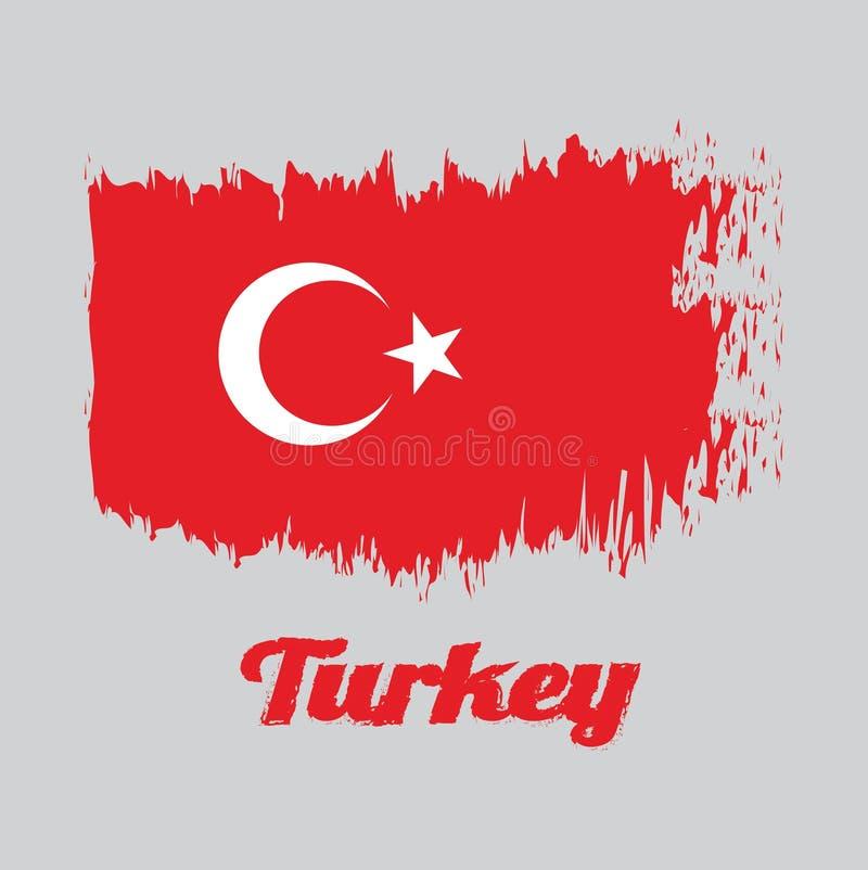 Escove a bandeira de Turquia, um campo vermelho da cor do estilo com uma estrela e um crescente brancos deixados levemente do cen ilustração do vetor