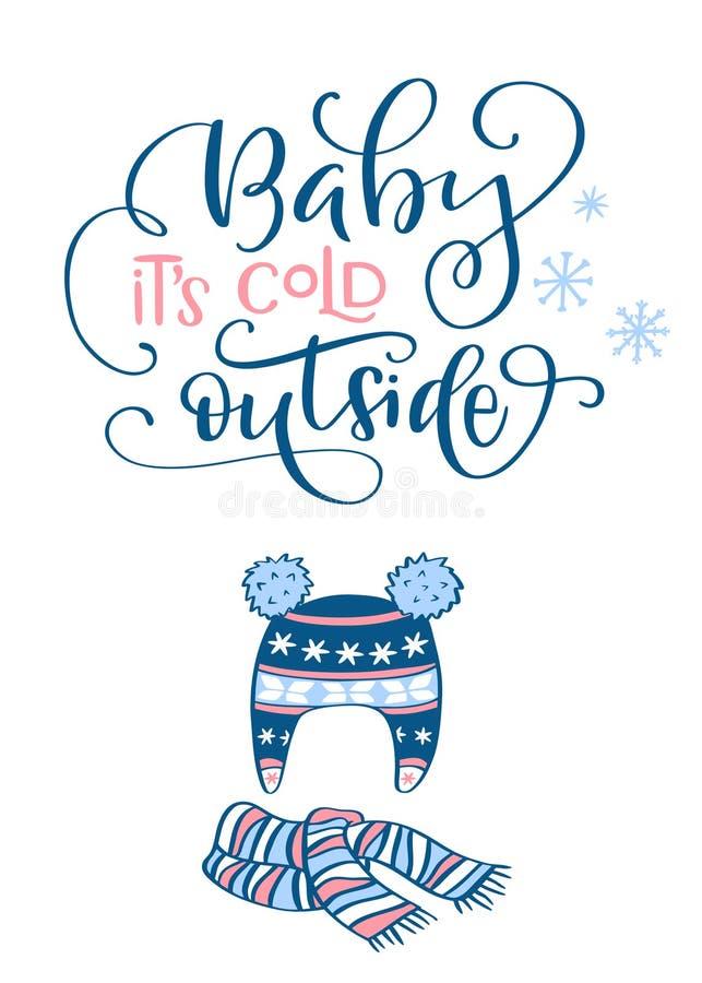 Escove a composição da rotulação do bebê It's w exterior frio da frase ilustração stock