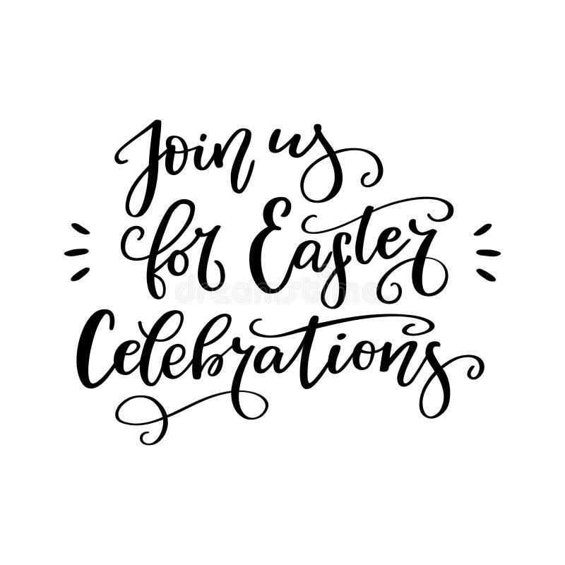 Escove a composição da rotulação Join nós para celebrações da Páscoa ilustração stock