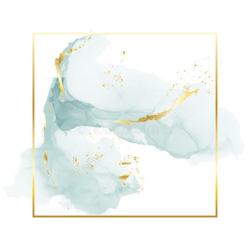 Escove cursos azuis cinzentos em tons delicados e quadro do retângulo da folha de ouro em um fundo branco Arte da aquarela do vet ilustração stock