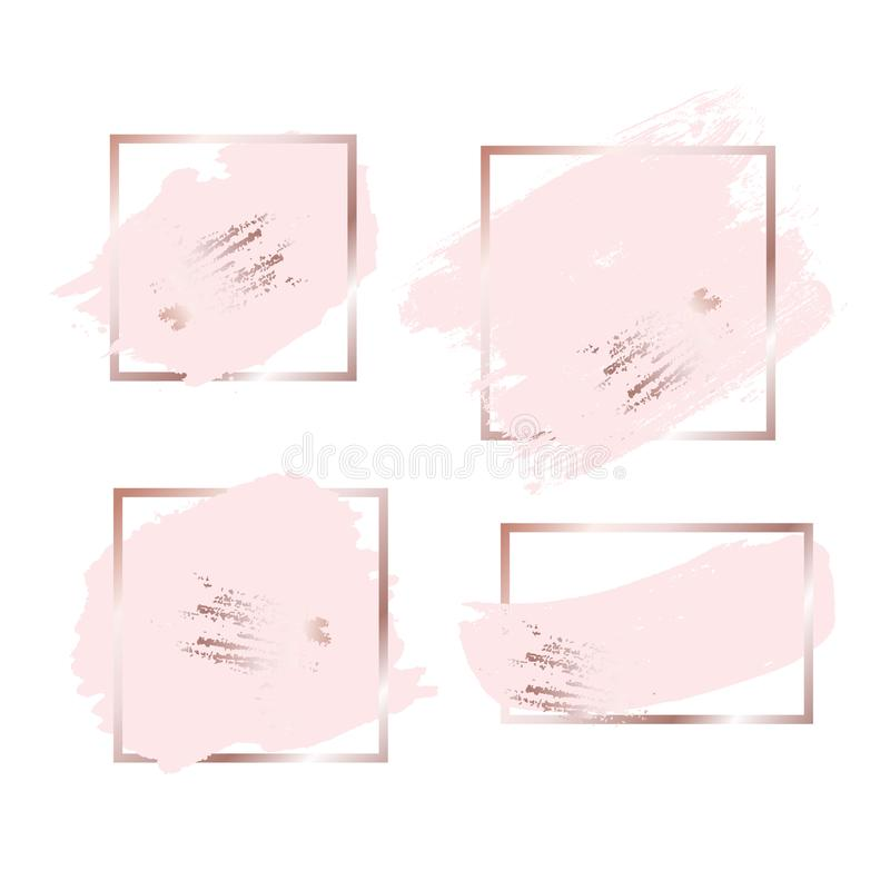 Escove cursos em tons cor-de-rosa do rosa do ouro e no fundo dourado do quadro Ilustração do vetor ilustração do vetor