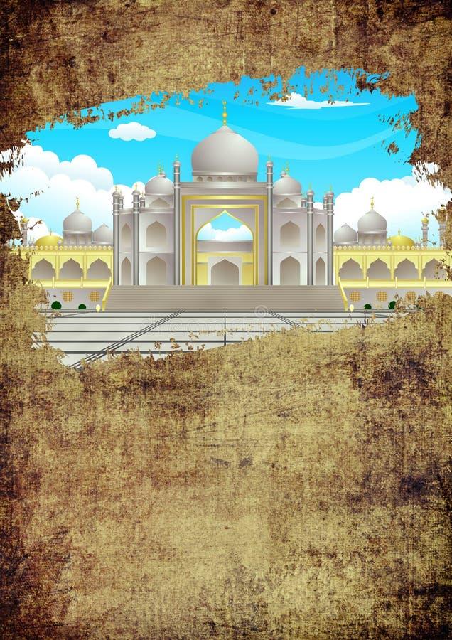 Escove o cartão feliz do Grunge e do ouro de Eid Blank Template Ramadhan Elegant da sujeira com imagem da mesquita ilustração stock