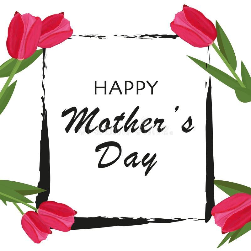 Escove o quadro com as tulipas vermelhas, cor-de-rosa O dia de mãe feliz com o cartão branco do fundo ilustração royalty free