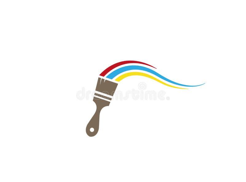 Escove a pintura com logotipo das cores ilustração stock