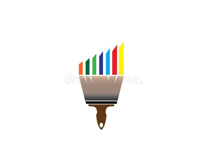 Escove a pintura com os multicolors para o projeto do logotipo ilustração stock