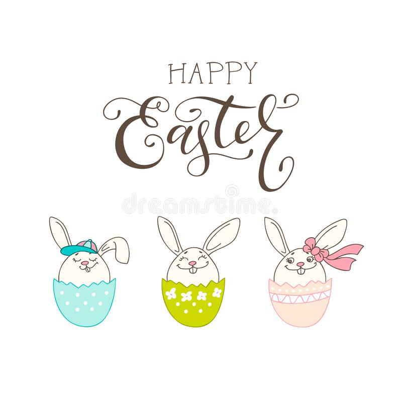 Escove a rotulação da composição da Páscoa feliz e do coelho tirado mão ilustração stock