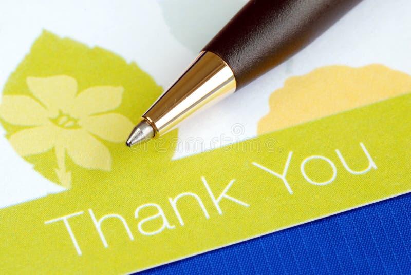 Escríbale a agradecimiento para cardar imagen de archivo