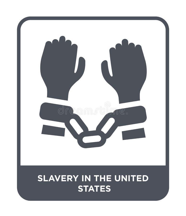 escravidão no ícone de Estados Unidos no estilo na moda do projeto escravidão no ícone de Estados Unidos isolado no fundo branco  ilustração royalty free