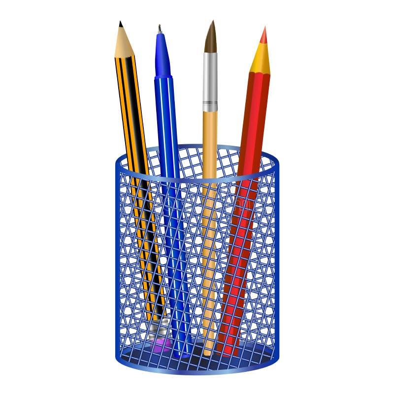 Escreva a borla da pena em um vidro isolado na ilustração branca do vetor do fundo imagem de stock