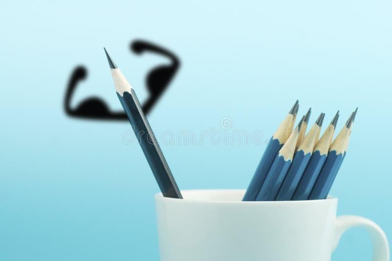 Escreva com o músculo sombreado no copo no fundo azul fotos de stock