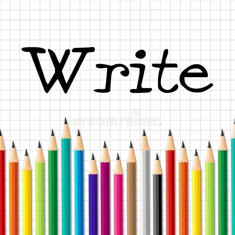 Escreva a criança dos meios dos lápis que estuda e que educa ilustração do vetor