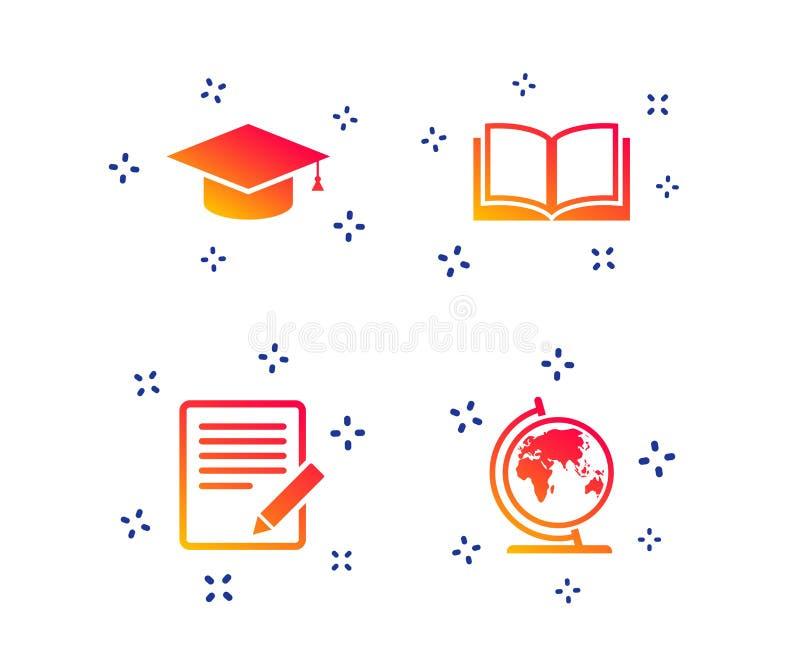Escreva e abra sinais do livro Ícone do tampão da graduação Vetor ilustração do vetor