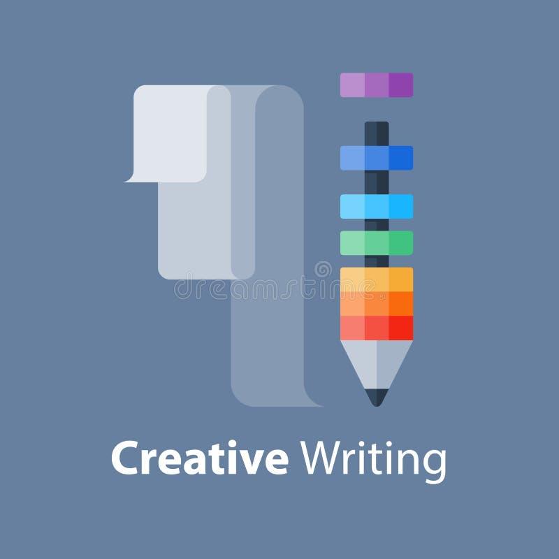 Escreva a ideia, conceito criativo da escrita, oficina do projeto, melhoria da habilidade, curso da narração ilustração do vetor