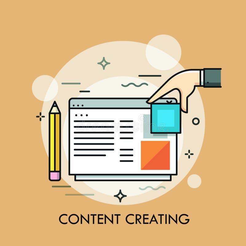 Escreva, mão e programa ou janela humana do Web site Conceito da criação da Web ou do Internet, da criação satisfeitas do Web pag ilustração stock