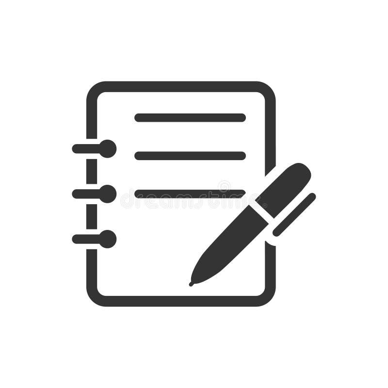 Escreva o ícone da nota ilustração stock