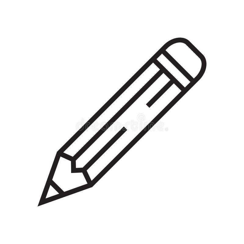 Escreva o sinal e o símbolo do vetor do ícone isolados no fundo branco, conceito do logotipo do lápis ilustração stock