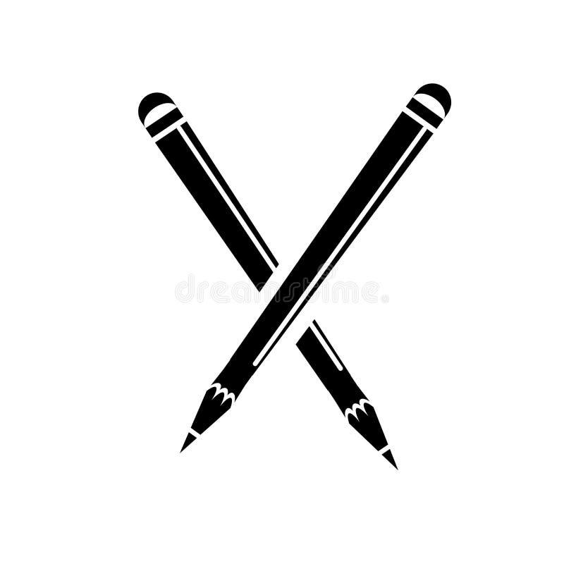 Escreva o sinal e o símbolo do vetor do ícone isolados no fundo branco, conceito do logotipo do lápis ilustração do vetor