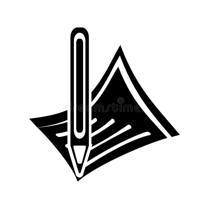 Escreva o sinal e o símbolo do vetor do ícone isolados no fundo branco, conceito do logotipo do lápis ilustração royalty free