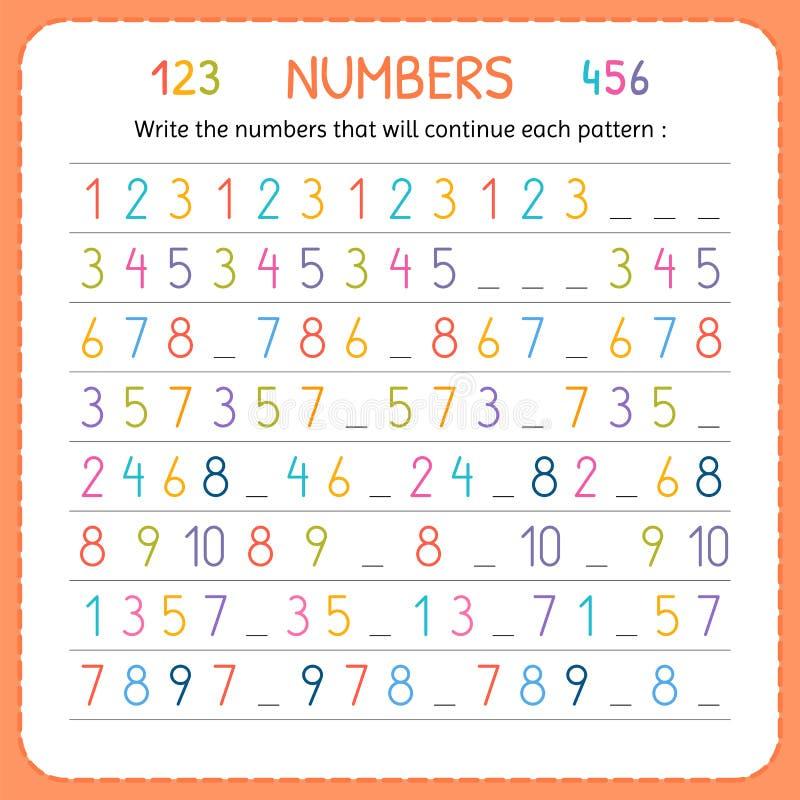 Escreva os números que continuarão cada teste padrão Números para crianças Folha para o jardim de infância e o pré-escolar Formaç ilustração stock
