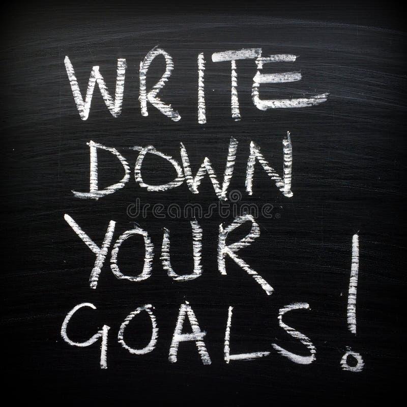 Escreva para baixo seus objetivos! fotografia de stock royalty free