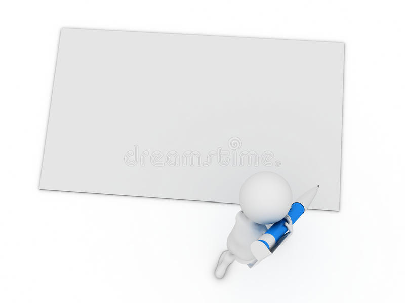 Escreva um cartão com pena grande ilustração stock