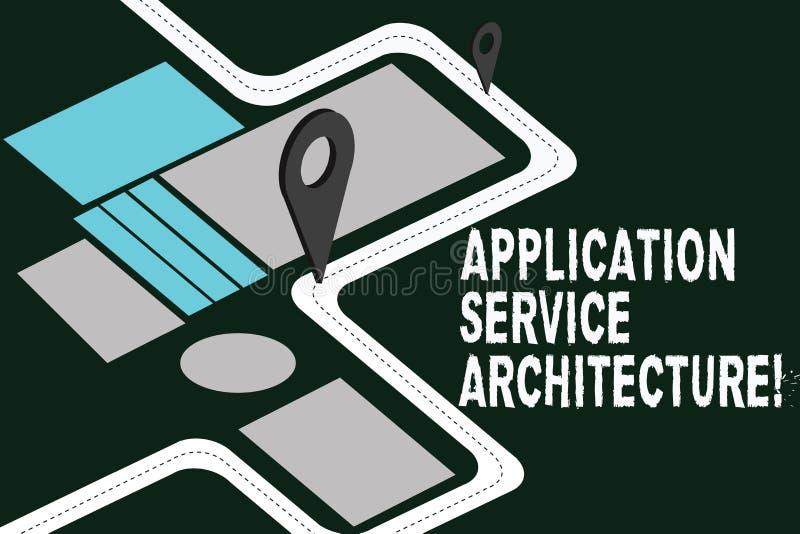 Escrevendo a arquitetura do serviço da aplicação da exibição da nota Projeto apresentando da foto do negócio das soluções que lig ilustração do vetor