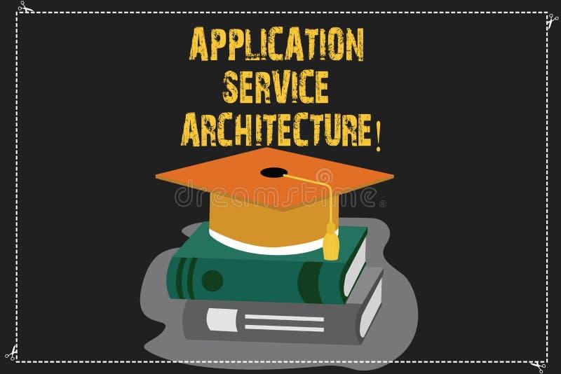 Escrevendo a arquitetura do serviço da aplicação da exibição da nota Projeto apresentando da foto do negócio das soluções que lig ilustração royalty free