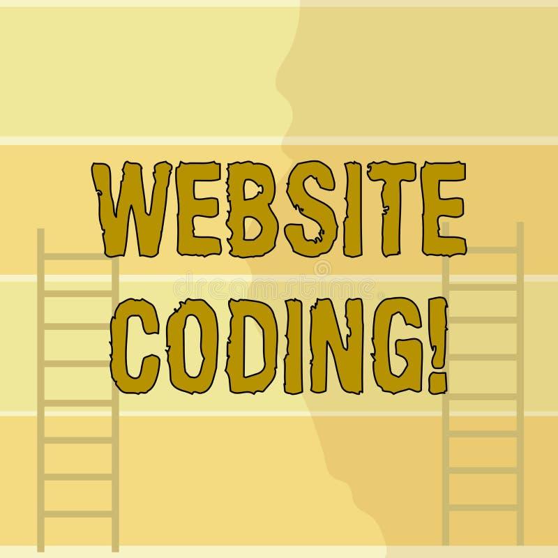 Escrevendo a codificação do Web site da exibição da nota Sistema apresentando da foto do negócio de símbolos e de regras usados p ilustração royalty free