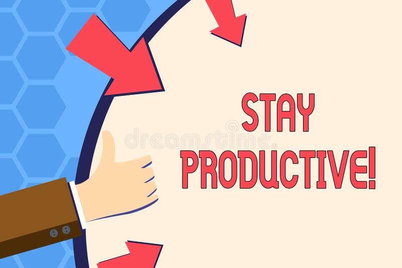 Escrevendo a estada da exibição da nota produtiva Produtividade apresentando da concentração da eficiência da foto do negócio ilustração stock