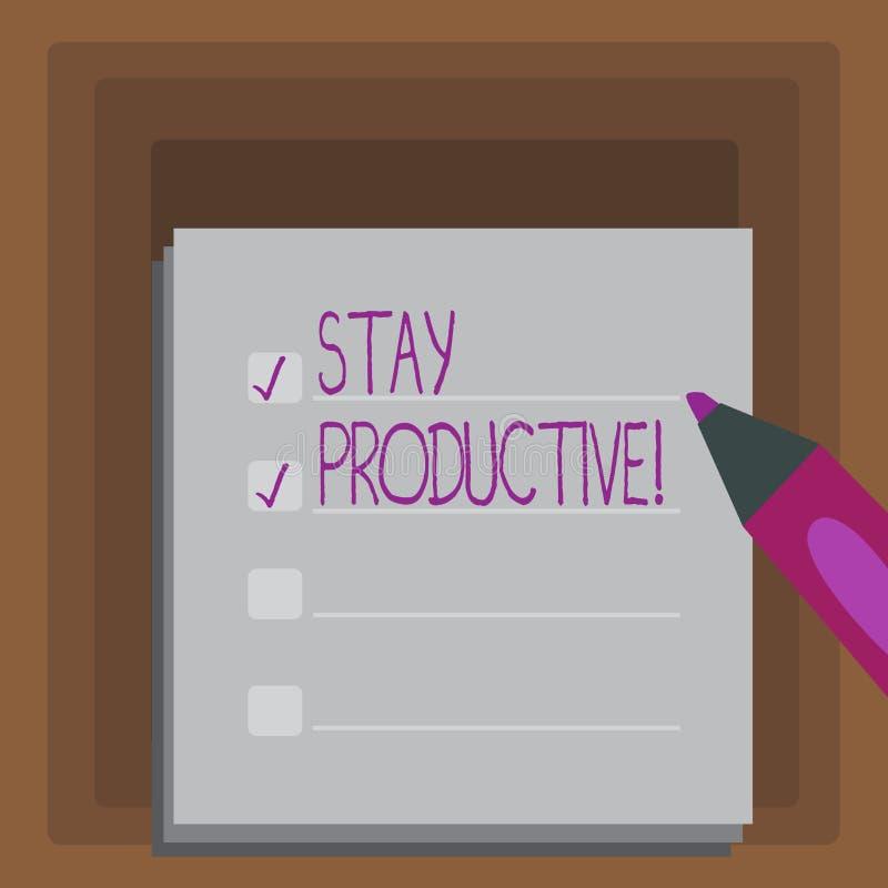 Escrevendo a estada da exibição da nota produtiva Produtividade apresentando da concentração da eficiência da foto do negócio ilustração royalty free