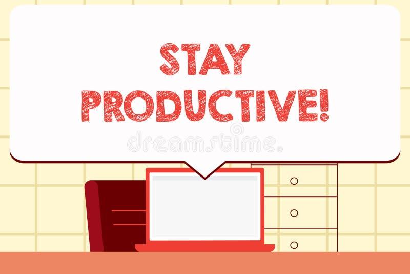 Escrevendo a estada da exibição da nota produtiva Produtividade apresentando da concentração da eficiência da foto do negócio ilustração do vetor