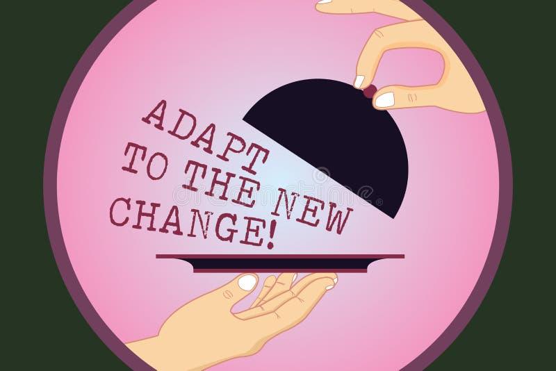 Escrevendo a exibição da nota adapte à mudança nova Apresentar da foto do negócio habitua-se a estratégias diferentes das mudança ilustração royalty free