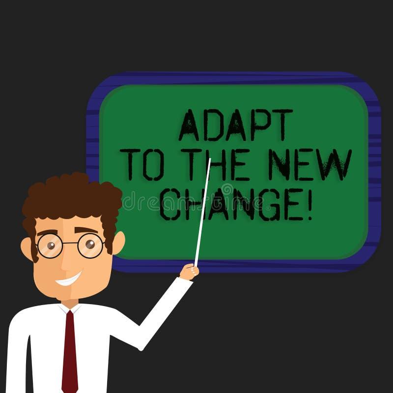 Escrevendo a exibição da nota adapte à mudança nova Apresentar da foto do negócio habitua-se a estratégias diferentes das mudança ilustração stock
