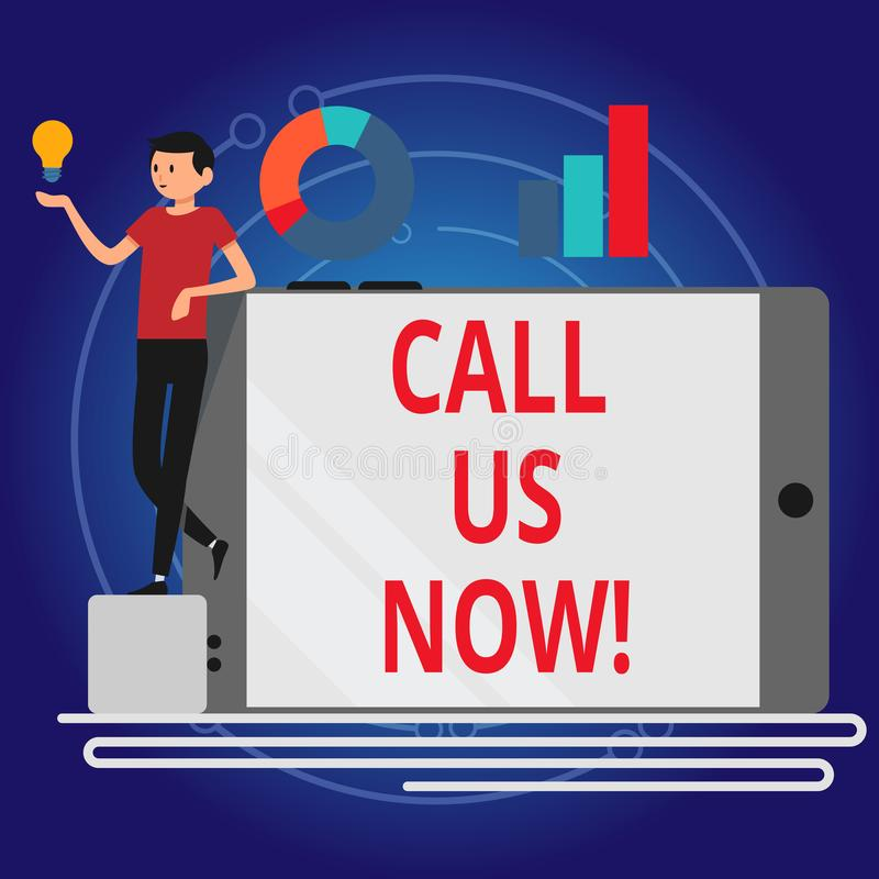 Escrevendo a exibição da nota chame-nos agora Apresentar da foto do negócio comunica-se pelo telefone para contactar o apoio do s ilustração do vetor