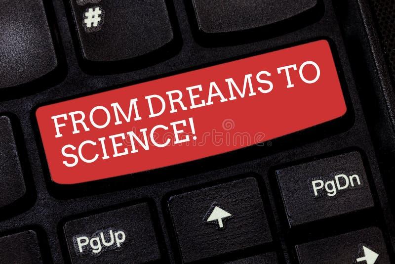 Escrevendo a exibição da nota dos sonhos à ciência A imaginação apresentando da foto do negócio transformou na realidade a tecnol imagem de stock