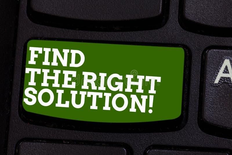 Escrevendo a exibição da nota encontre a solução direita Busca apresentando da foto do negócio para que a melhor alternativa reso imagens de stock royalty free