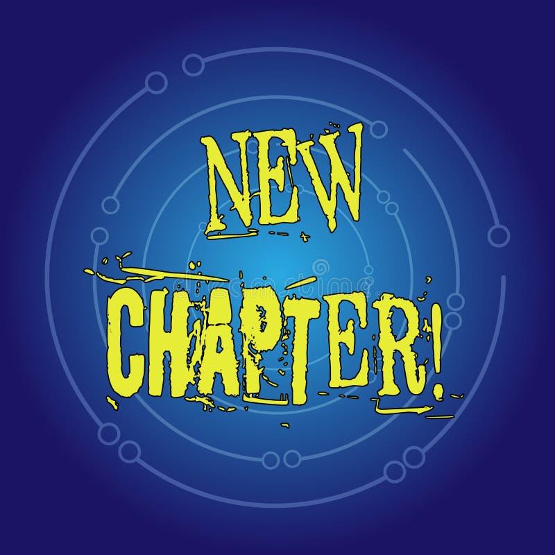 Escrevendo a exibição da nota o capítulo novo Foto do negócio que apresenta começando finalmente algo objetivos criados em sua me ilustração stock