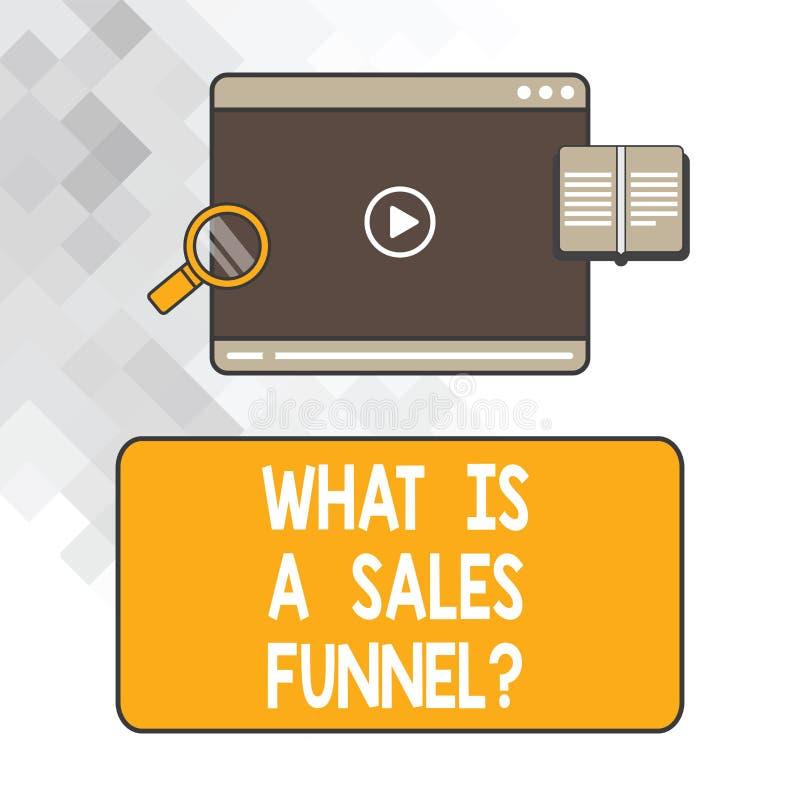 Escrevendo a exibição da nota o que é vendas Funnelquestion Apresentar da foto do negócio explica um método de anúncio de mercado ilustração stock