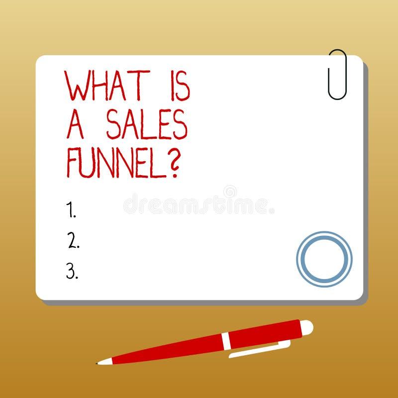 Escrevendo a exibição da nota o que é vendas Funnelquestion Apresentar da foto do negócio explica um método de anúncio de mercado ilustração do vetor