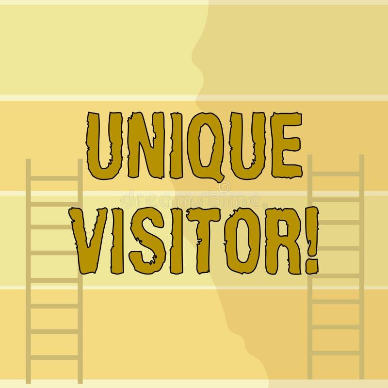 Escrevendo a exibição da nota o visitante original Indivíduos apresentando da foto do negócio que visitaram um site pelo menos um ilustração royalty free