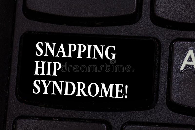 Escrevendo a exibição da nota que agarra a síndrome anca Foto do negócio que apresenta a pressão audível ou o clique que ocorrem  imagens de stock