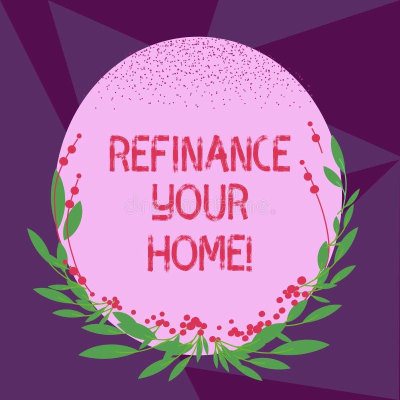 Escrevendo a exibição da nota refinancie sua casa Apresentar da foto do negócio permite que o devedor obtenha o melhor termo do i ilustração stock