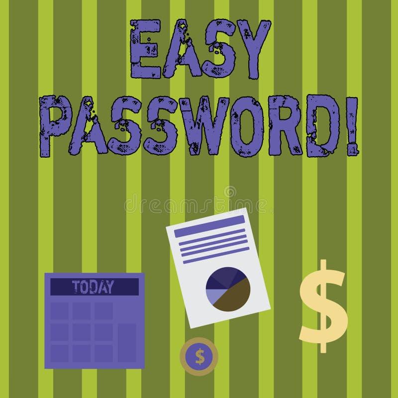 Escrevendo a exibição da nota a senha fácil Foto do negócio que apresenta o código fácil que permite um de ganhar a admissão para ilustração royalty free
